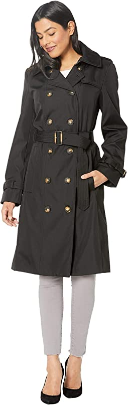 Bonded Poly Double Breasted Rain Trench Coat
