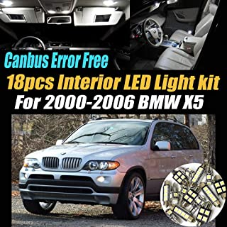 18Pc Canbus Error Free Super White 6000K Car Interior LED Light Pack Compatible for 2000-2006 BMW X5 Equipped w/Advanced Computer system