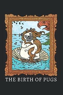 Sandro Botticelli Die Geburt der Venus Mops Parodie Hundehalter: DIN A5 Kariert 120 Seiten / 60 Blätter Notizbuch Notizhef...