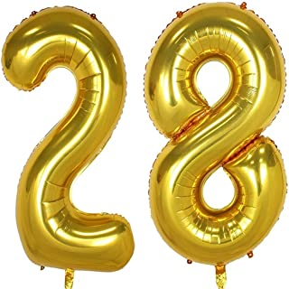 40inch Gold Foil 28 Helium Jumbo Digital Number Balloons, 28th Birthday Decoration for Girls or Boys, sweet 28 Birthday Party Supplies