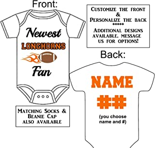 Personalized Custom Made Newest Longhorns Fan Football Gerber Onesie Jersey - Baby Announcement Reveal or Shower Gift