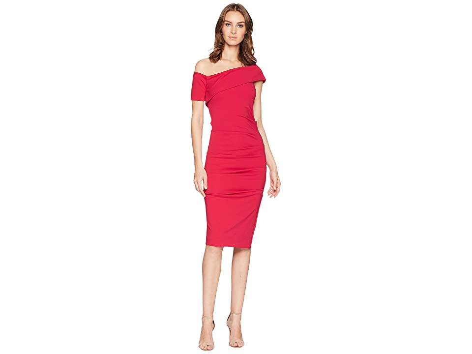 Nicole Miller Off Shoulder Dress (Fuchsia) Women
