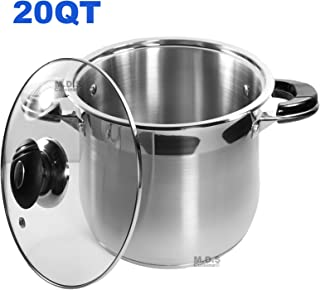 20Qt Stock Pot Stainless Steel Super Double Capsulated Bottom w/ Glass Lid