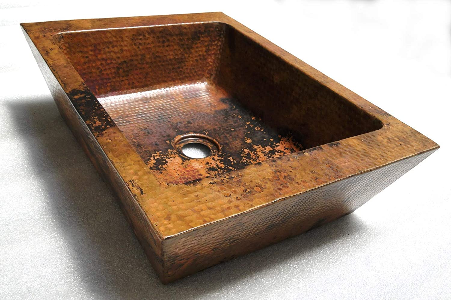 Amazon Com Rectangular Copper Double Wall Vessel Bathroom Sink In Natural Finish Kiro 20 X 13 X 5 Handmade Products