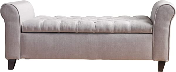 Christopher Knight Home 299379 Living Lamara Light Grey Fabric Armed Storage Bench 19 50 D X 50 00 W X 19 25 H