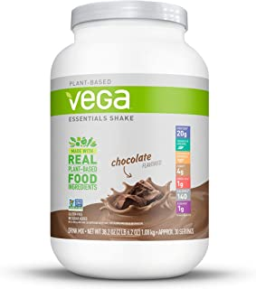 Vega Essentials Protein Powder, Chocolate, Plant Based Protein Powder Plus Vitamins, Minerals and Antioxidants - Vegan, Vegetarian, Keto-Friendly, Gluten Free, Dairy Free (30 Servings, 2lbs 6.2oz)