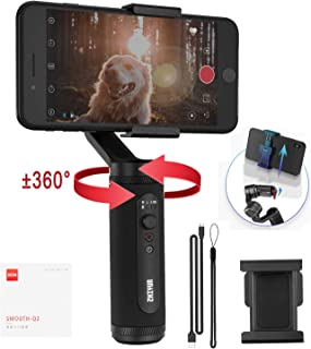 Zhiyun Smooth Q2 3-Axis Handheld Smartphone Gimbal Stabilizer for iPhone 11 Pro X XS Max, Samsung Galaxy S10 Huawei P30 with Time-lapse Vertigo Shot Object Tracking Panorama, Runtime 17h (Pocket Size)