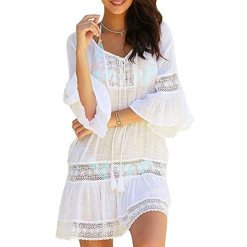 0991d89e2d6c LANOMI Women Beach Cover Up Dress Boho Vintage Hollow Lace Loose Beachwear Sundress  For Ladies Girls