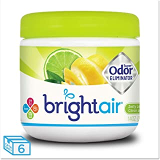 Bright Air 900248 Super Odor Eliminator, Zesty Lemon and Lime, 14 oz, 6/Carton