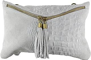 Chicca Tutto Moda CTM Pochette da donna, borsetta a spalla in vera pelle made in Italy - 29x19x2 Cm