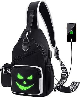 Xinveen Sac à Bandoulière Lumineux Sac à Dos à Bandoulière Sac de Poitrine Multifonction avec Port de Chargement USB pour ...