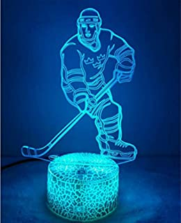 3D Ice Hockey Player Night Light Table Desk Optical Illusion Lamps 7 Color Changing Lights LED Table Lamp Xmas Home Love Brithday Children Kids Decor Toy Gift