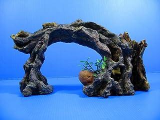 プラスチック 樹脂製 アクアリウム オーナメント コケ 植物 が生えた 流木 アーチ 魚 の 隠れ家 洞窟 [並行輸入品]