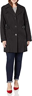 Women's Plus-Size Single-Breasted Pleated Trench Coat