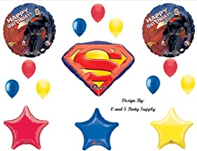 NEW SUPERMAN Man of Steel Super Hero Happy Birthday PARTY Balloons Decorations Supplies