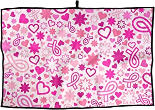 FRS Ltd Pink Ribbon Breast Cancer Awareness Golf Towel 15x24 Inches Comfortable Fitness Towel for Biking Hiking Pilates & More Sports