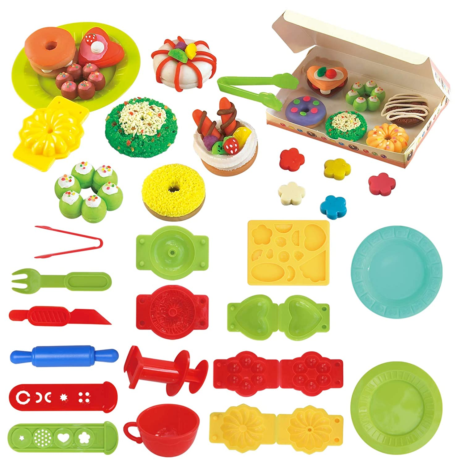 JHONG 3D Clay Dough nut Mold, Including 5 Dough nut molds, 8 Noodle molds, can be Used to Make Macaroni, 2 Plates, 1 Cup, Knives and Forks, and Other Small Tools