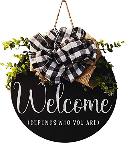 """popular Welcome Sign Welcome Front Door Round Wood Sign Hanging Welcome Sign for Farmhouse Porch Spring Welcome Sign Front Door Decoration with high quality Bufflo Bow, 2021 12"""" online"""