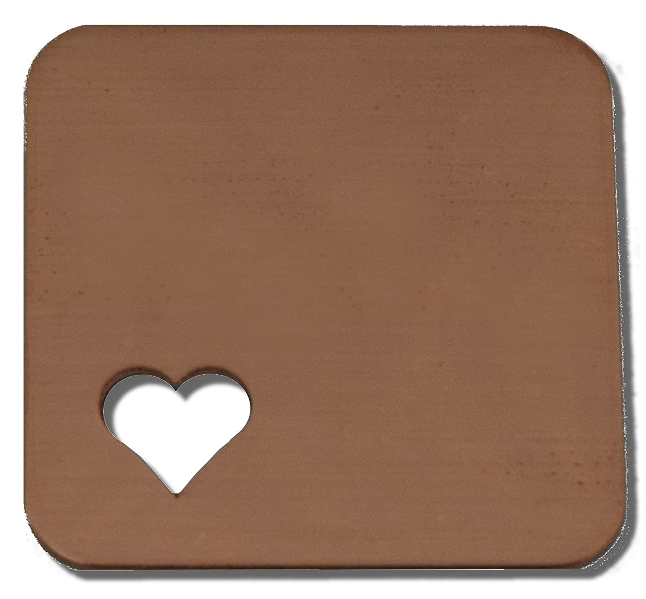 RMP Stamping Blanks, 1 Inch Square With Radius Corners, 1/4 Inch Heart - Bottom Left Corner - 16 Oz. Copper, 24 Gauge - 10 Pack