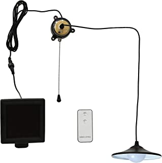 Sunnydaze Vintage Solar LED Ceiling Pendant Light with Remote Control and Pull Cord