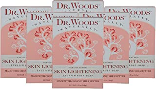 Dr. Woods Skin Lightening English Rose Bar Soap with Organic Shea Butter, 5.25 Ounce (Pack of 6)