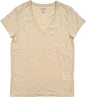 Ralph Lauren Polo Womens Short Sleeve Jersey V Neck T-Shirt (X-Small, Khaki)