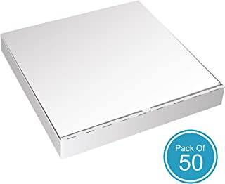 White Pizza Boxes by HTTP - 18 x 18 Pizza Box Size, Corrugated, Kraft – 50 Pack
