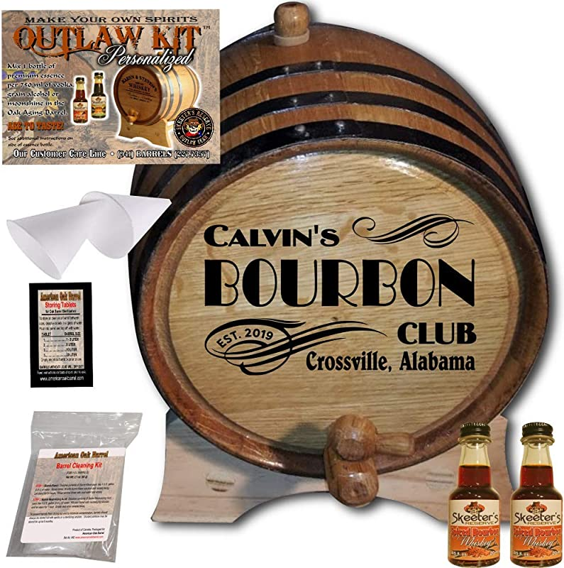 Personalized Whiskey Making Kit 202 Create Your Own Spiced Bourbon Whiskey The Outlaw Kit From Skeeter S Reserve Outlaw Gear MADE BY American Oak Barrel Oak Black Hoops 2 Liter