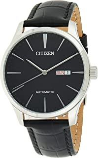 Citizen Men's Black Dial Leather Band Watch - NH8350-08E
