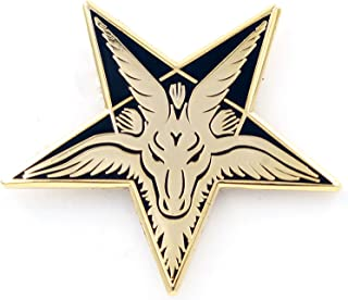 Baphomet Head Enamel Pin – Sabbatic Goat Pentagram Tarot Occult Unisex Lapel Pin - for Backpacks, Jackets, Shirts, Bags, Tops