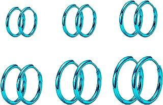 6 ازواج اقراط حلقية صغيرة من نيويتين، مصنوعة من الستانلس ستيل 316L المستخدم في صناعة الادوات الجراحية، لا تسبب الحساسية، ا...