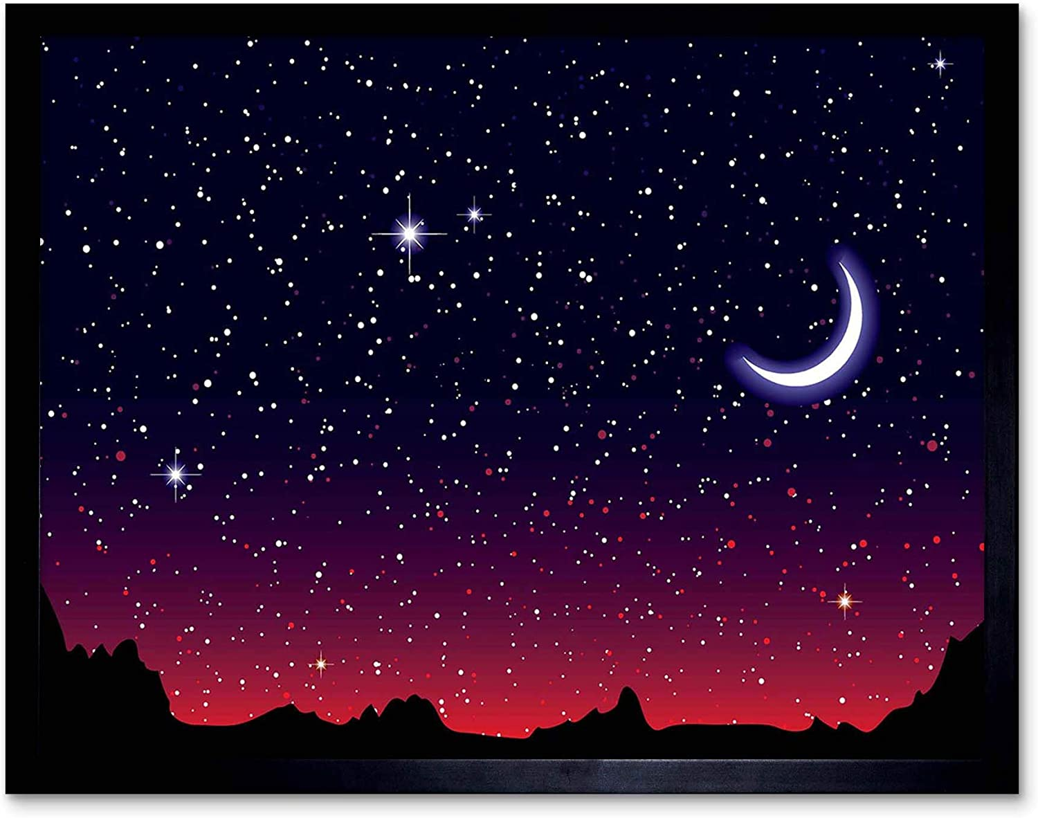 Wee Blue Coo Painting Illustration Starry Night Sky Crescent Moon Art Print Poster Wall Decor 12x16 Inch Amazon Co Uk Kitchen Home