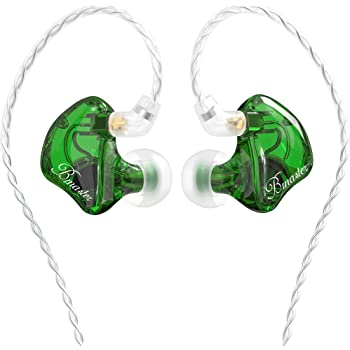 in Ear Monitor for Musicians BASN Bmaster Triple Driver Hybrid IEM Headphones Noise Cancelling in-Ear Earbuds with Two Detachable MMCX Cables for Stage/Audio Recording (Green)