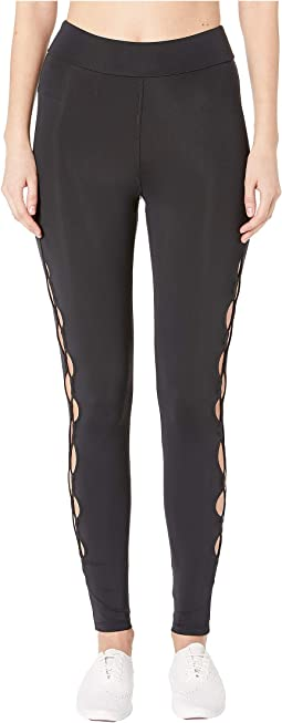 High-Waisted Leggings with Half Circle Cut Outs