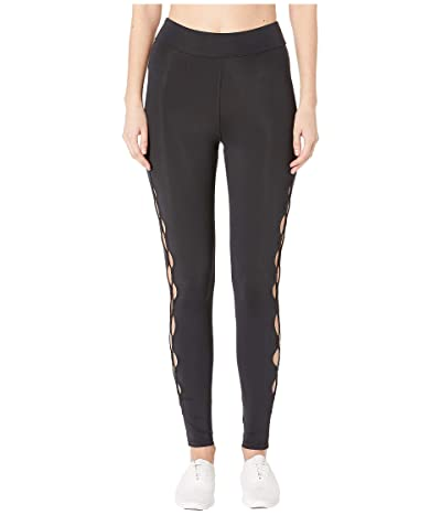 Cushnie High-Waisted Leggings with Half Circle Cut Outs (Black/Black) Women