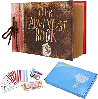 Our Adventure Book Pixar Up Handmade DIY Scrapbook Photo Album 80 Pages Retro Memory Book for Lover Friends Kids Anniversary Wedding Travelling Baby