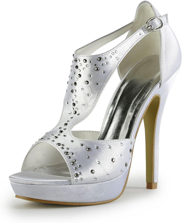 TDA TH12121 Womens Satin Crystals Evening Parting Bridal Wedding Dress T-Strap Platform Sandals