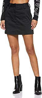 Calvin Klein Women's 8719113634-Black Calvin Klein Jeans A-Line Cotton Short Skirt for Women - CK Black
