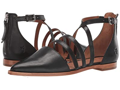 Frye Kenzie Moto Strappy (Black Washed Oiled Vintage) Women