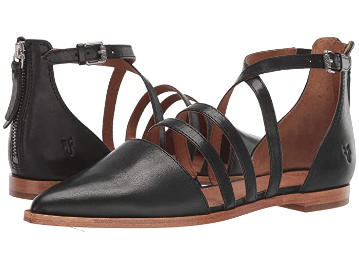 Frye  Kenzie Moto Strappy (Black Washed Oiled Vintage) Womens Flat Shoes