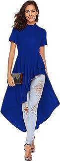 SimpleFun Womens Ruffle High Low Asymmetrical Short Sleeve Bodycon Tops Blouse Shirt Dress