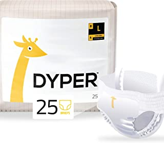 DYPER | Responsibly Sourced Bamboo Pull On Diaper Brief | Ink Free, Soft + Durable | Large | 21-31 lbs | 25 Count