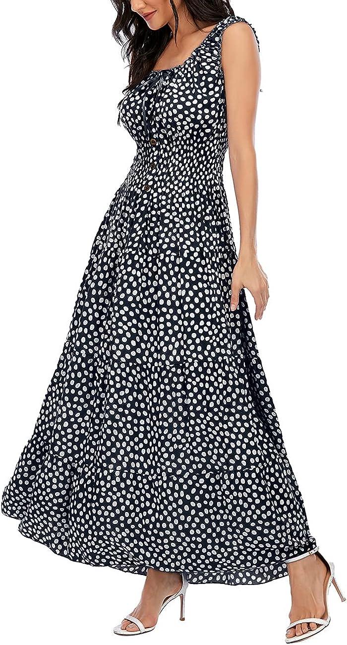 OSTOO Sleeveless Women's Casual Floral Dress for Women Flowy Long Summer Maxi Dress Womens Boho Beach Dress Sundresses