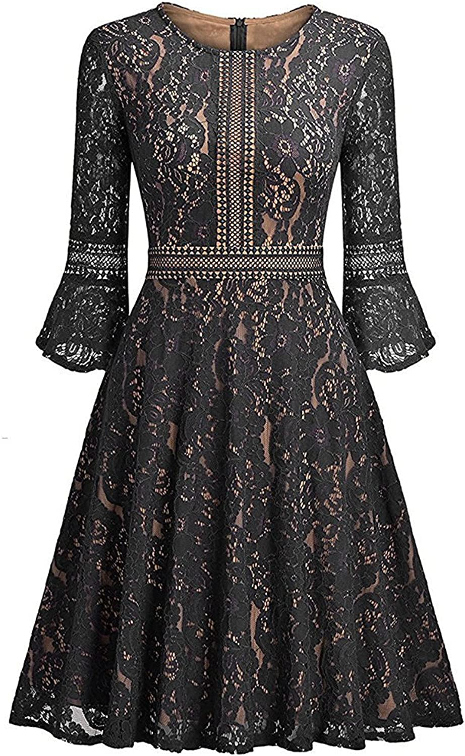 FashionRun Women's Full Lace Contrast Flare Sleeve Big Swing ALine Vintage Dress