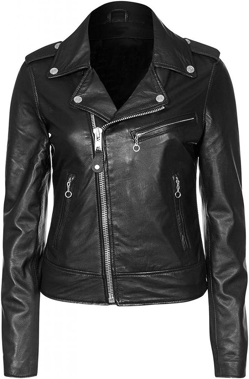 Leather Jacket Women Stylish Slim fit Lambskin Genuine Motorcycle Biker Black