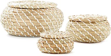 Americanflat Woven Seagrass Baskets with Lids, Set of 3