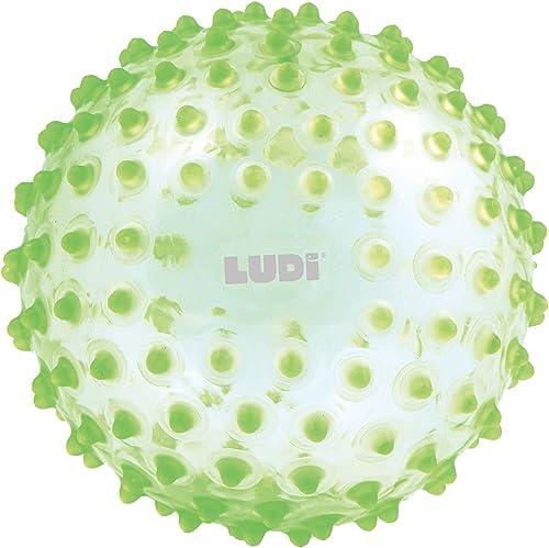 LUDI - Balle sensorielle verte pour l'éveil de bébé. Adaptée aux enfants dès 6 mois. Gros picots tendre faciles à mor...