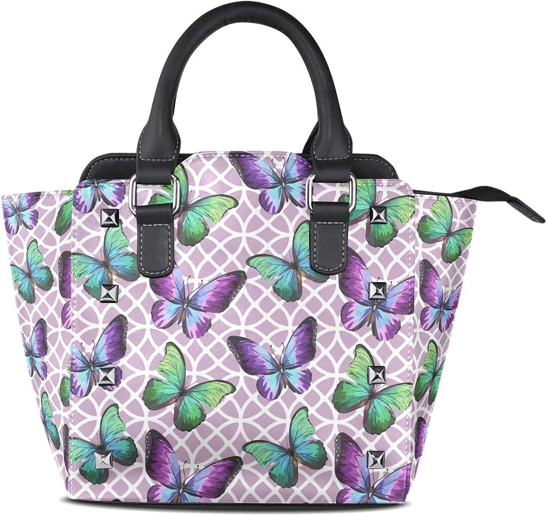My Little Nest Women's Top Handle Satchel Handbag purple color Butterflies Ladies PU Leather Shoulder Bag Crossbody Bag