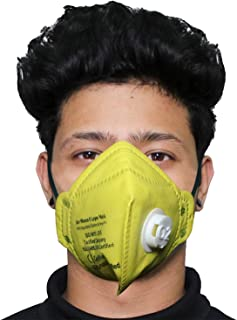 ORILEY O2 OR6LM10 6 Layer Face Mask with Filter Valve Nose Mouth Respirator for Men & Women (Yellow, 1 PC)
