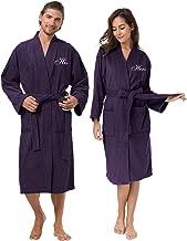 AW Couple's Terry Cotton Kimono Robe Spa Bathrobe Set - Unisex Hotel Robe with Elegant Script Embroidery